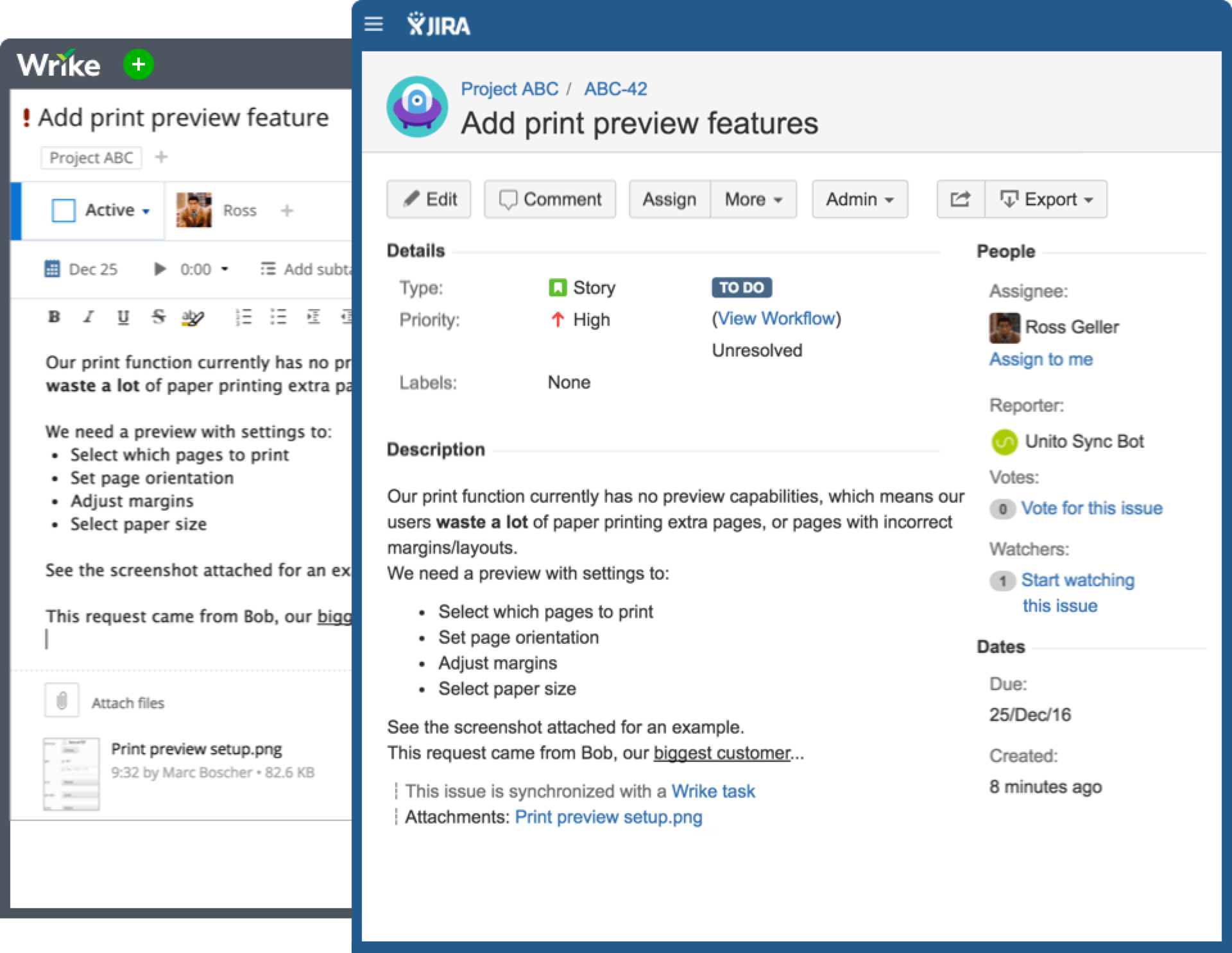 Create new issues in JIRA from within Wrike